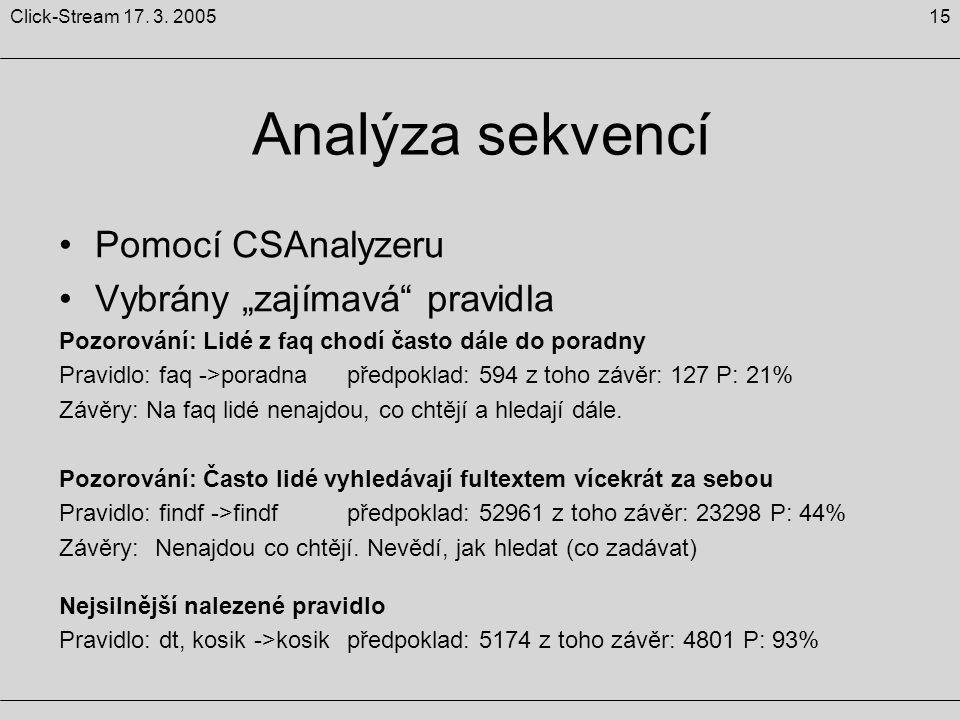 """15Click-Stream 17. 3. 2005 Analýza sekvencí Pomocí CSAnalyzeru Vybrány """"zajímavá"""" pravidla Pozorování: Lidé z faq chodí často dále do poradny Pravidlo"""