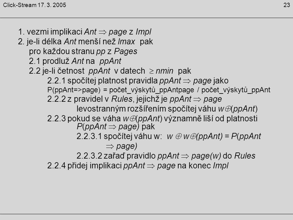 23Click-Stream 17. 3. 2005 1. vezmi implikaci Ant  page z Impl 2. je-li délka Ant menší než lmax pak pro každou stranu pp z Pages 2.1 prodluž Ant na