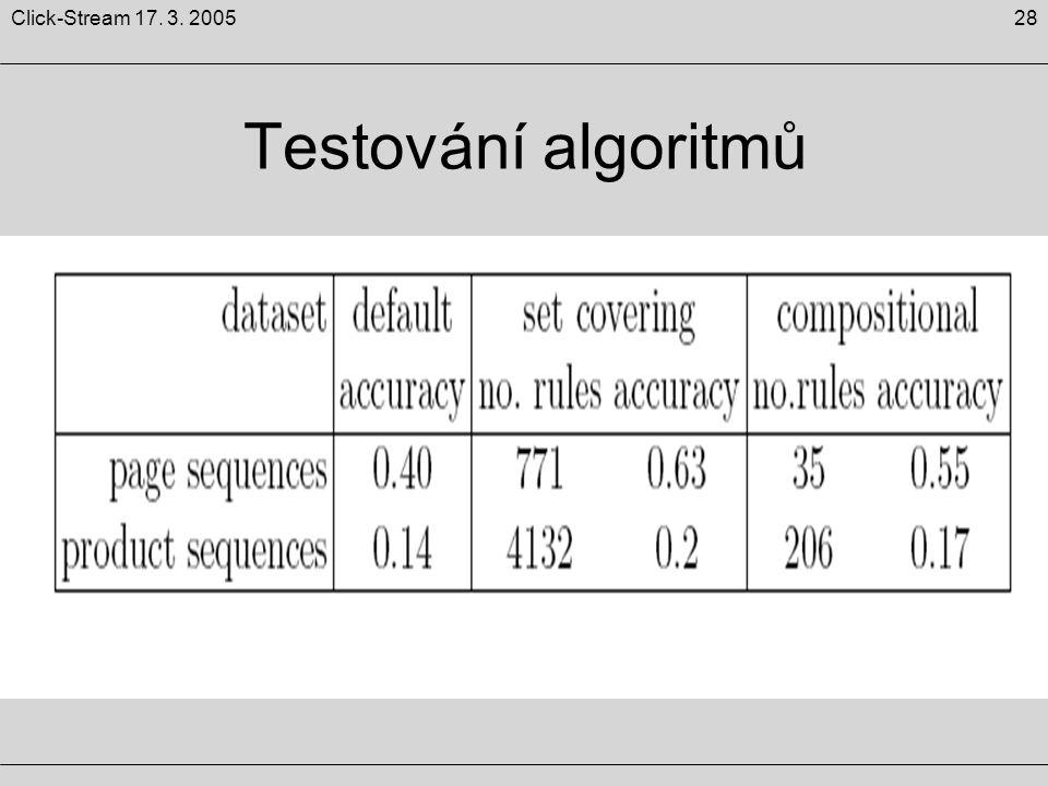 28Click-Stream 17. 3. 2005 Testování algoritmů