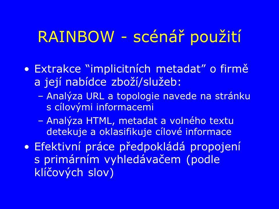 RAINBOW - scénář použití Extrakce implicitních metadat o firmě a její nabídce zboží/služeb: –Analýza URL a topologie navede na stránku s cílovými informacemi –Analýza HTML, metadat a volného textu detekuje a oklasifikuje cílové informace Efektivní práce předpokládá propojení s primárním vyhledávačem (podle klíčových slov)