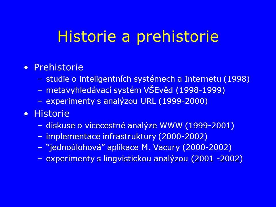 Historie a prehistorie Prehistorie –studie o inteligentních systémech a Internetu (1998) –metavyhledávací systém VŠEvěd (1998-1999) –experimenty s analýzou URL (1999-2000) Historie –diskuse o vícecestné analýze WWW (1999-2001) –implementace infrastruktury (2000-2002) – jednoúlohová aplikace M.