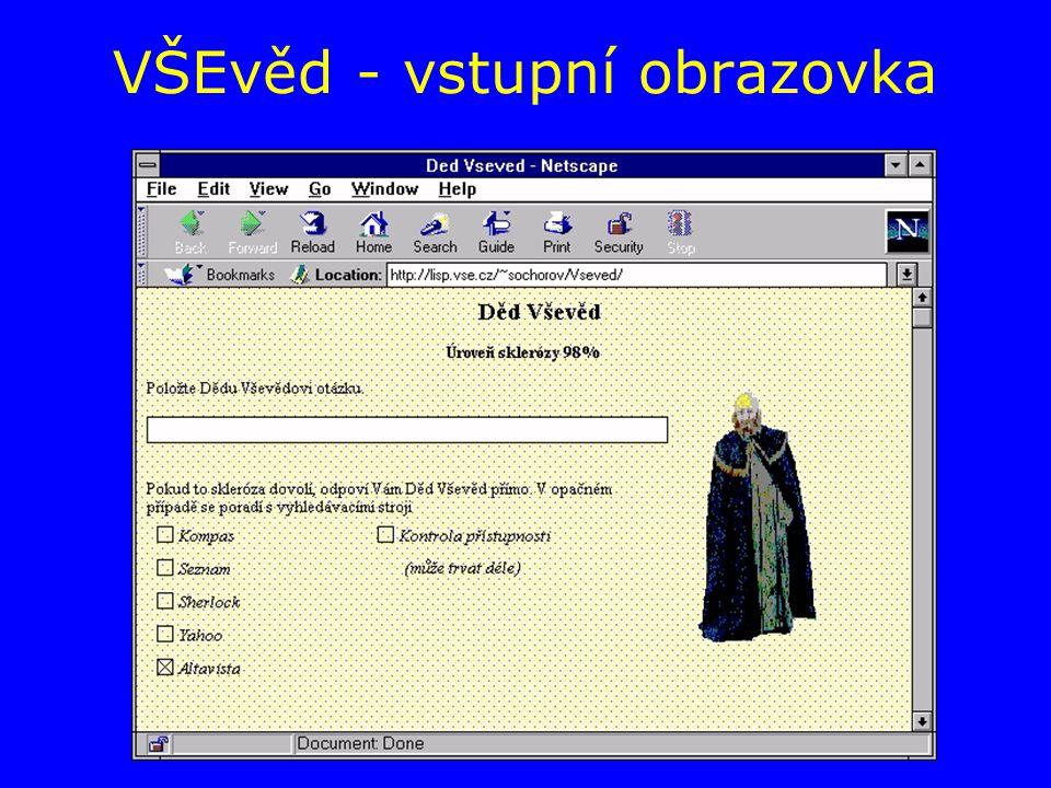 VŠEvěd - vstupní obrazovka