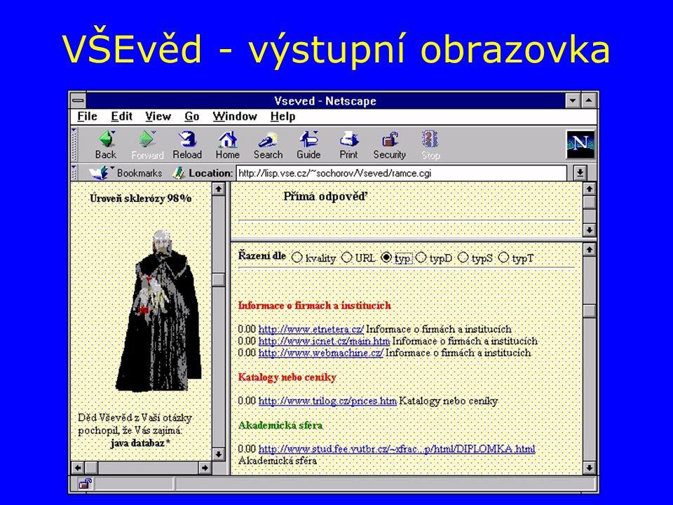 VŠEvěd - výstupní obrazovka