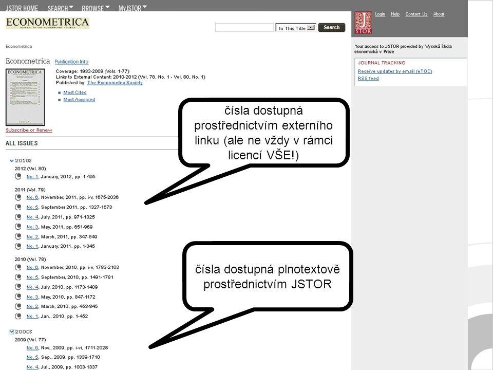 čísla dostupná prostřednictvím externího linku (ale ne vždy v rámci licencí VŠE!) čísla dostupná plnotextově prostřednictvím JSTOR