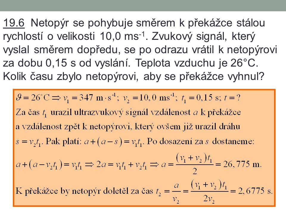 19.4 Určete vlnovou délku ultrazvukových vln o frekvenci 10 MHz v hliníku.