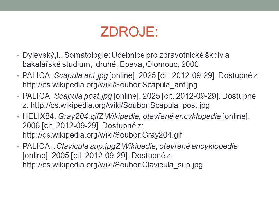 ZDROJE: Dylevský,I., Somatologie: Učebnice pro zdravotnické školy a bakalářské studium, druhé, Epava, Olomouc, 2000 PALICA. Scapula ant.jpg [online].