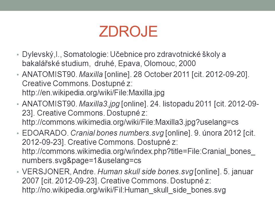 ZDROJE Dylevský,I., Somatologie: Učebnice pro zdravotnické školy a bakalářské studium, druhé, Epava, Olomouc, 2000 ANATOMIST90. Maxilla [online]. 28 O