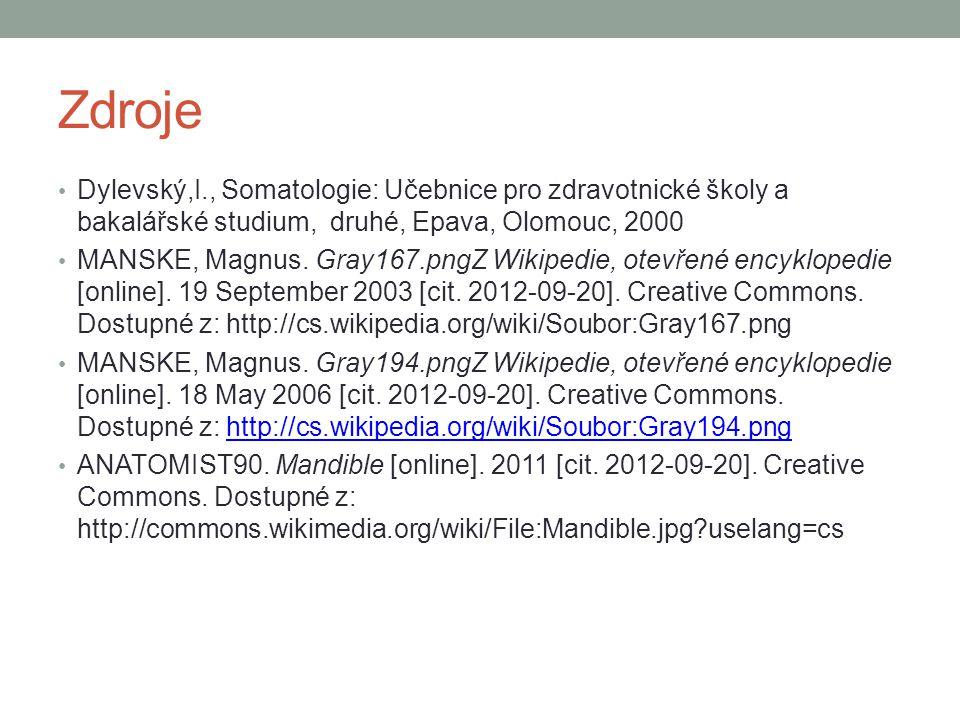 Zdroje Dylevský,I., Somatologie: Učebnice pro zdravotnické školy a bakalářské studium, druhé, Epava, Olomouc, 2000 MANSKE, Magnus. Gray167.pngZ Wikipe