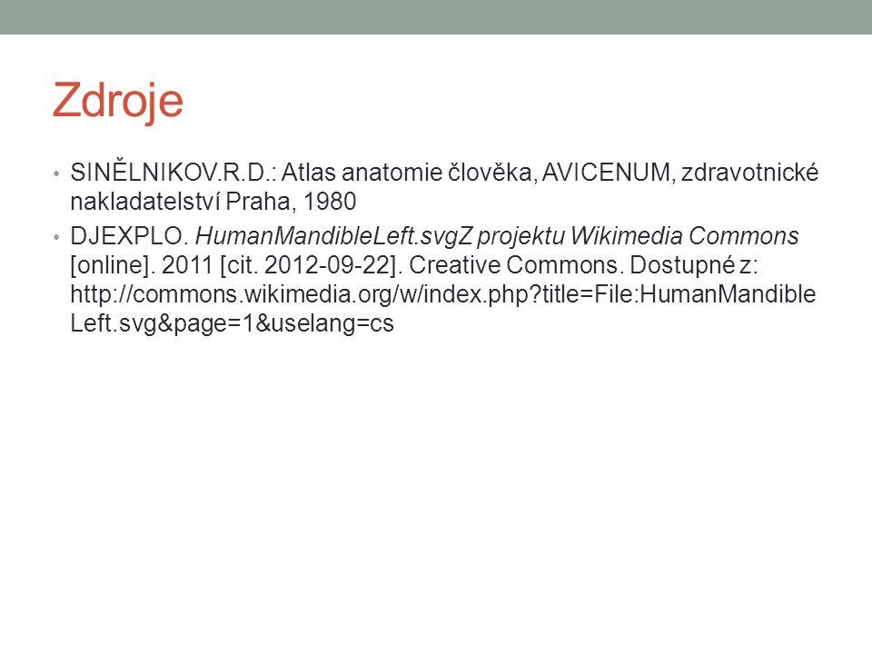Zdroje SINĚLNIKOV.R.D.: Atlas anatomie člověka, AVICENUM, zdravotnické nakladatelství Praha, 1980 DJEXPLO. HumanMandibleLeft.svgZ projektu Wikimedia C