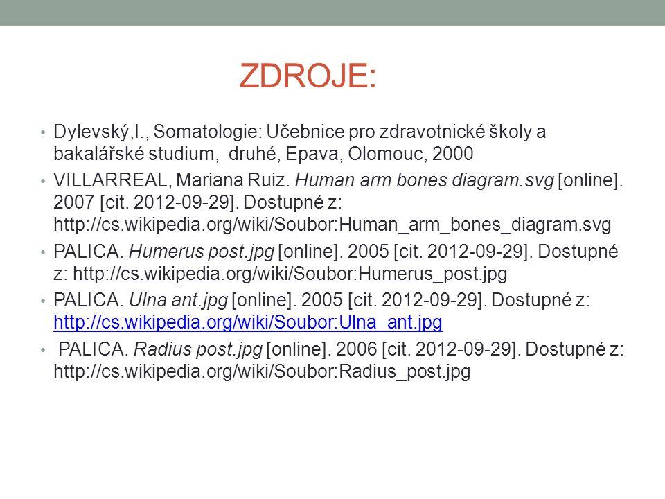 ZDROJE: Dylevský,I., Somatologie: Učebnice pro zdravotnické školy a bakalářské studium, druhé, Epava, Olomouc, 2000 VILLARREAL, Mariana Ruiz. Human ar