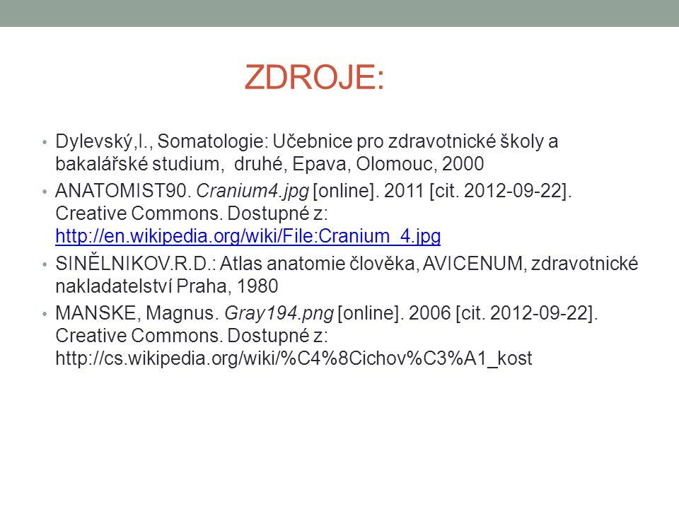 ZDROJE: Dylevský,I., Somatologie: Učebnice pro zdravotnické školy a bakalářské studium, druhé, Epava, Olomouc, 2000 ANATOMIST90. Cranium4.jpg [online]