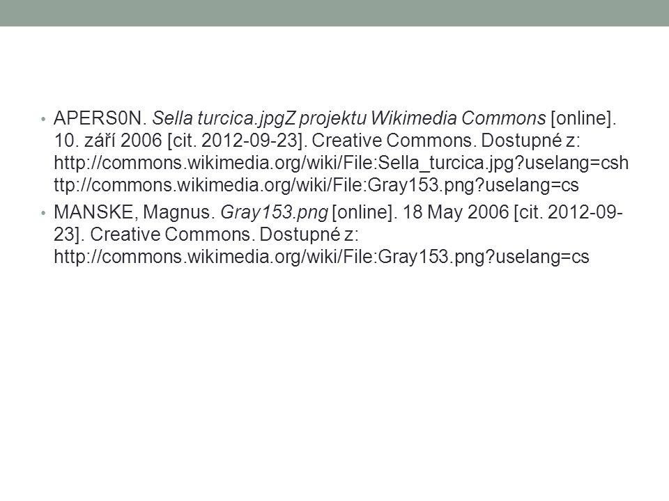 APERS0N. Sella turcica.jpgZ projektu Wikimedia Commons [online]. 10. září 2006 [cit. 2012-09-23]. Creative Commons. Dostupné z: http://commons.wikimed