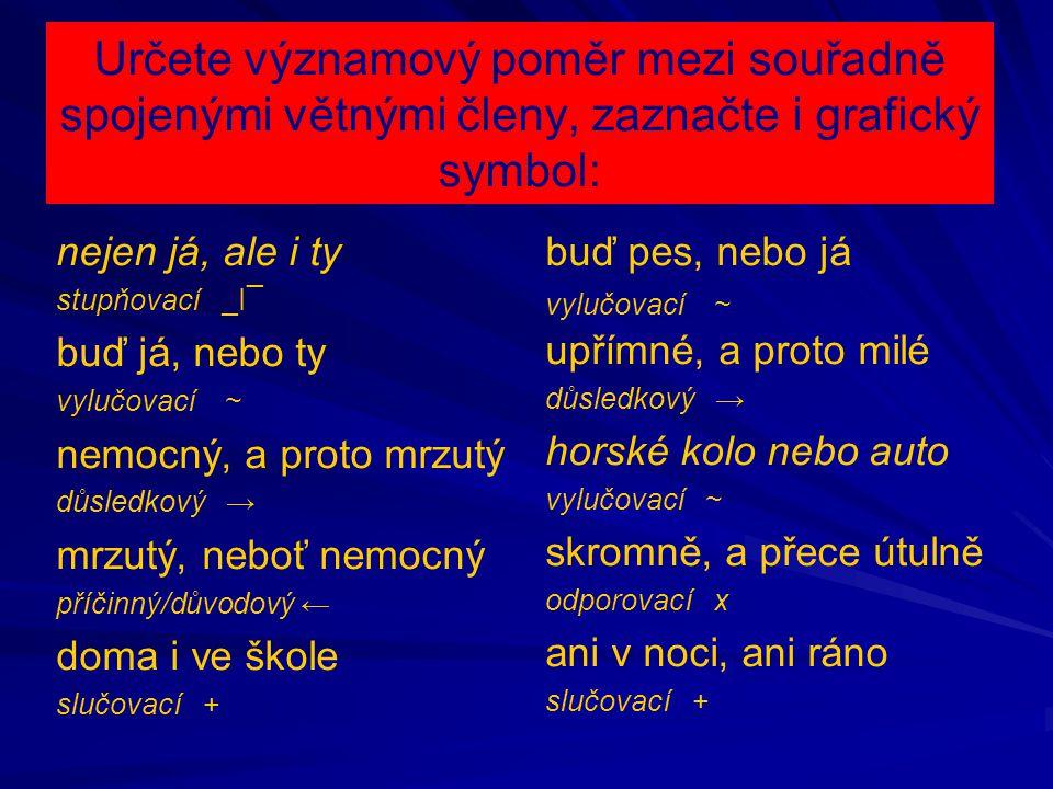Určete významový poměr mezi souřadně spojenými větnými členy, zaznačte i grafický symbol: nejen já, ale i ty stupňovací _I¯ buď já, nebo ty vylučovací ~ nemocný, a proto mrzutý důsledkový → mrzutý, neboť nemocný příčinný/důvodový ← doma i ve škole slučovací + buď pes, nebo já vylučovací ~ upřímné, a proto milé důsledkový → horské kolo nebo auto vylučovací ~ skromně, a přece útulně odporovací x ani v noci, ani ráno slučovací +