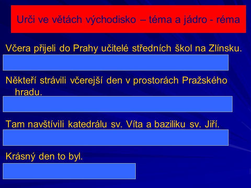 Urči ve větách východisko – téma a jádro - réma Včera přijeli do Prahy učitelé středních škol na Zlínsku. Včera přijeli do Prahy – téma; učitelé střed