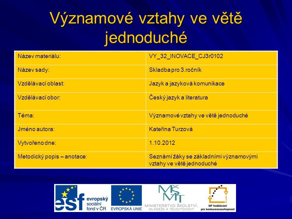 Významové vztahy ve větě jednoduché Název materiálu:VY_32_INOVACE_CJ3r0102 Název sady:Skladba pro 3.ročník Vzdělávací oblast:Jazyk a jazyková komunika
