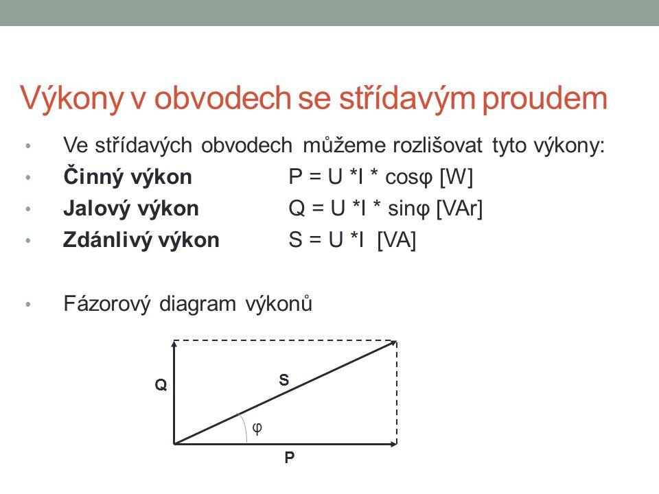 Výkony v obvodech se střídavým proudem Ve střídavých obvodech můžeme rozlišovat tyto výkony: Činný výkon P = U *I * cosφ [W] Jalový výkonQ = U *I * si