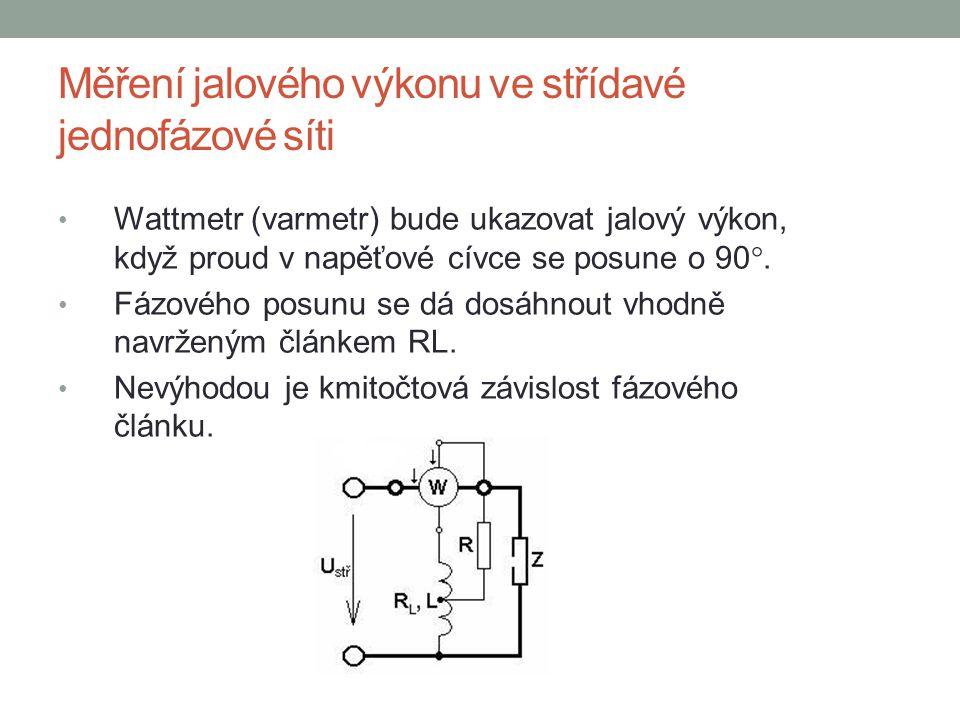 Měření jalového výkonu ve střídavé jednofázové síti Wattmetr (varmetr) bude ukazovat jalový výkon, když proud v napěťové cívce se posune o 90 . Fázov