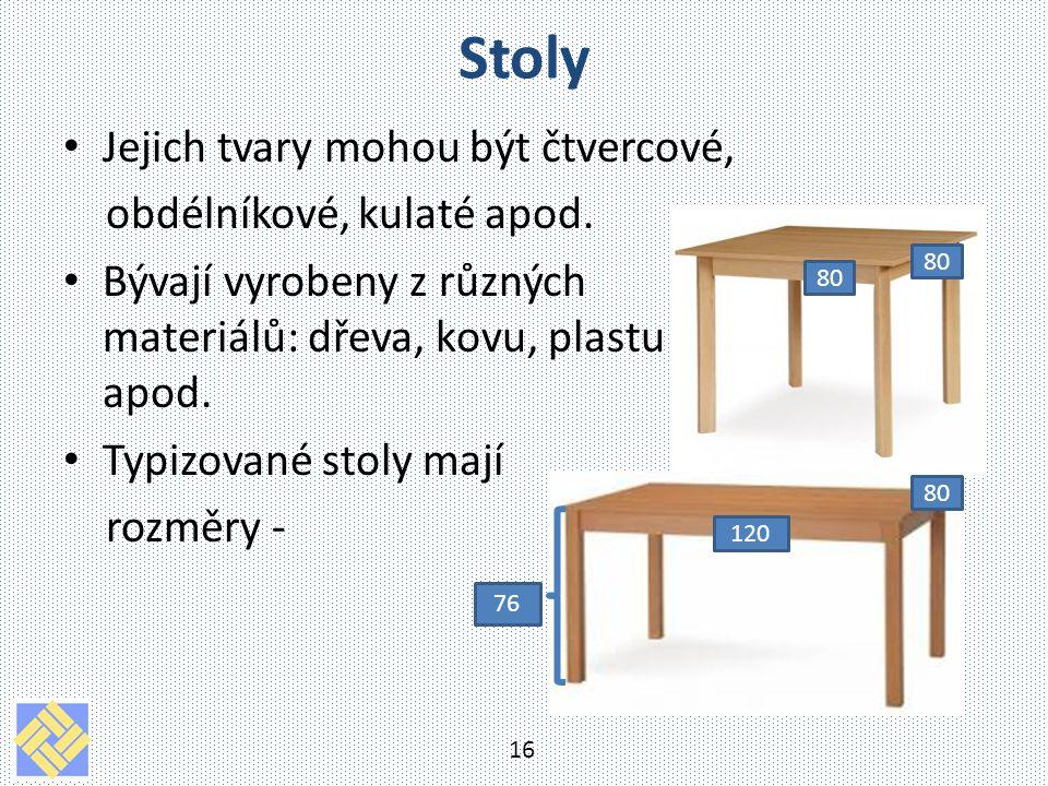 Stoly Jejich tvary mohou být čtvercové, obdélníkové, kulaté apod. Bývají vyrobeny z různých materiálů: dřeva, kovu, plastu apod. Typizované stoly mají