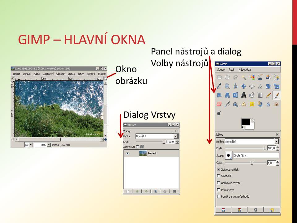 GIMP – HLAVNÍ OKNA Základní prostření Gimpu tvoří tři okna: Panel nástrojů, ke kterému je ve spodní části připojen (přidokován) dialog Volby nástrojů Okno obrázku - každý obrázek se zobrazuje v samostatném okně, lze otevřít mnoho obrázků současně.