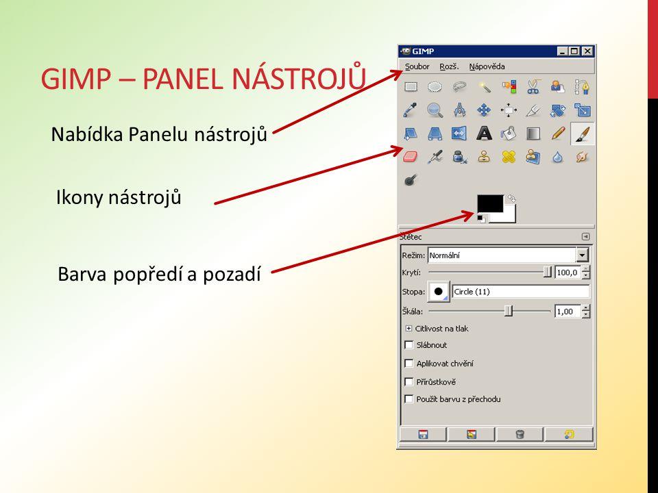 GIMP – NABÍDKA PANELU NÁSTROJŮ Panel nástrojů - obsahuje příkazy, z nichž některé nejsou dostupné z nabídek obrázků.
