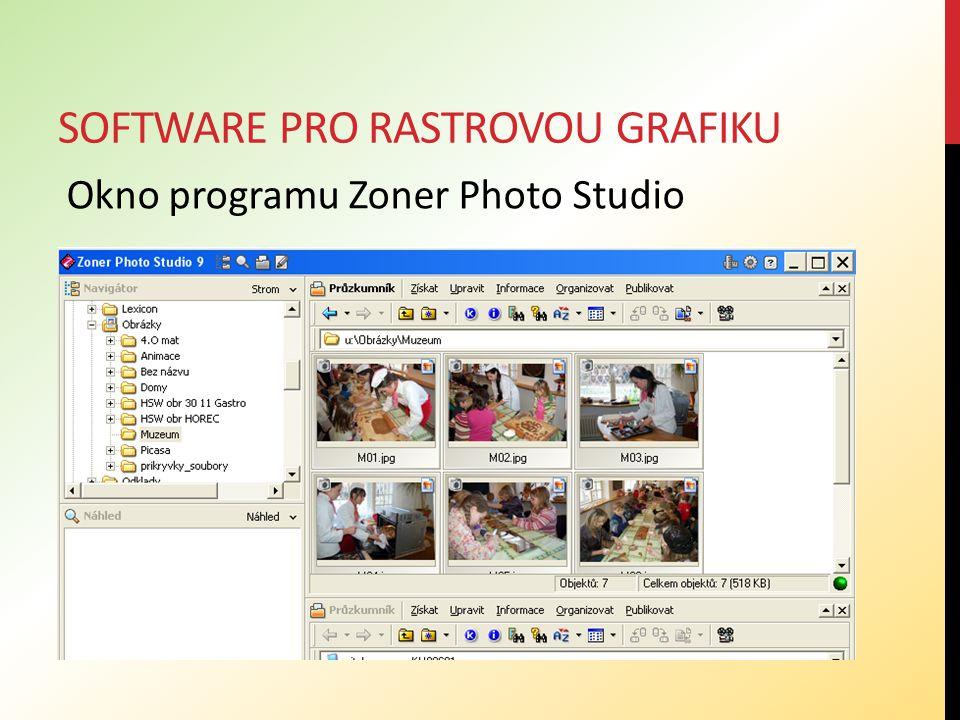 SOFTWARE PRO RASTROVOU GRAFIKU Okno programu Zoner Photo Studio