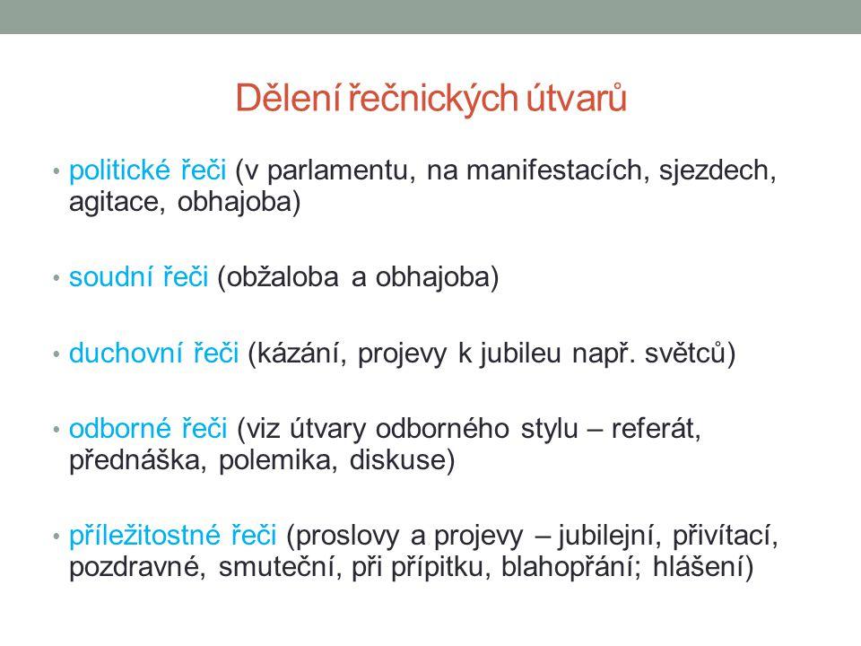 Jazykové a jiné prostředky výhradně spisovná čeština podle povahy projevu i citově zabarvená slova prostředky citového zaujetí – řečnické otázky, zvolací věty, citace, ustálené výrazy (př.