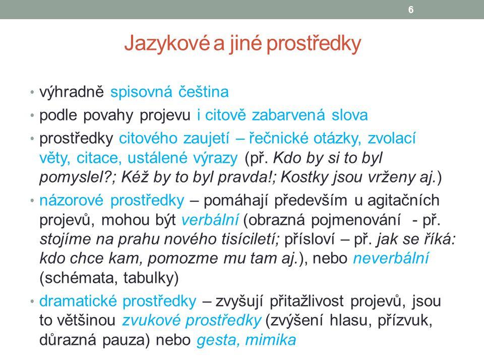 Jazykové a jiné prostředky výhradně spisovná čeština podle povahy projevu i citově zabarvená slova prostředky citového zaujetí – řečnické otázky, zvol