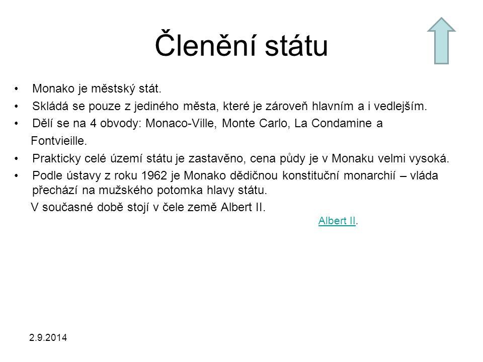 Členění státu Monako je městský stát. Skládá se pouze z jediného města, které je zároveň hlavním a i vedlejším. Dělí se na 4 obvody: Monaco-Ville, Mon