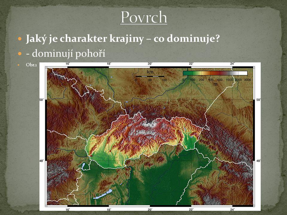 Jaký je charakter krajiny – co dominuje - dominují pohoří Obr.1