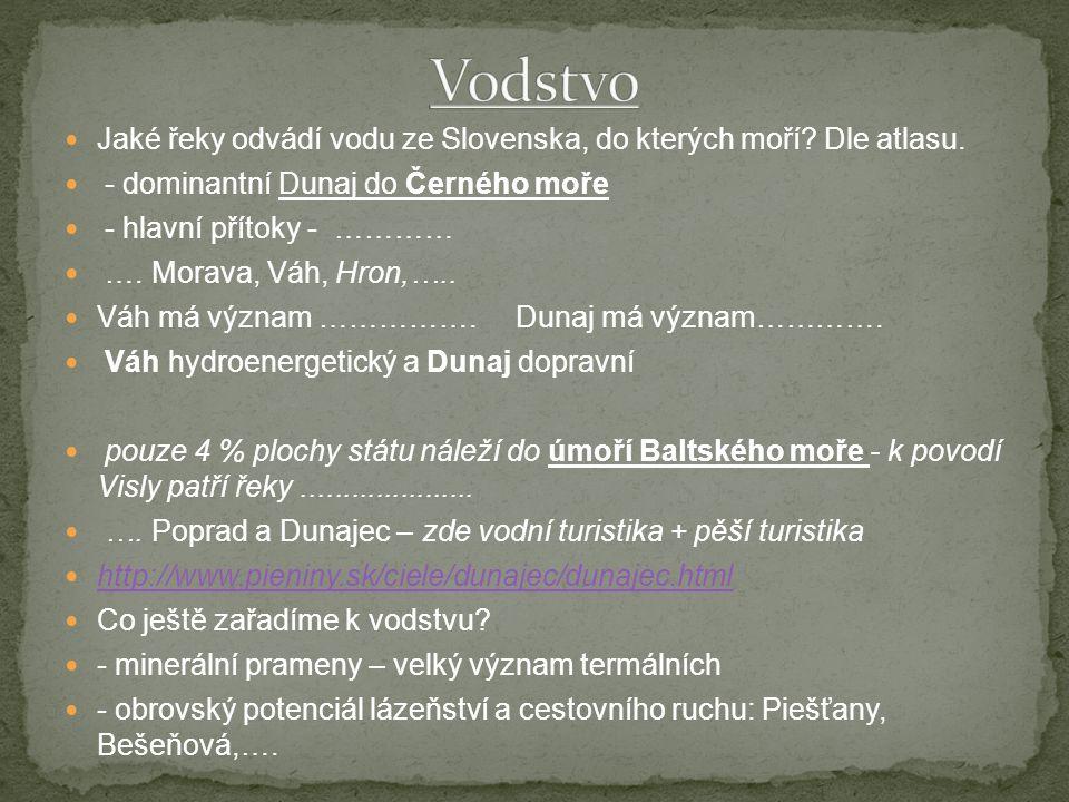 Jaké řeky odvádí vodu ze Slovenska, do kterých moří.