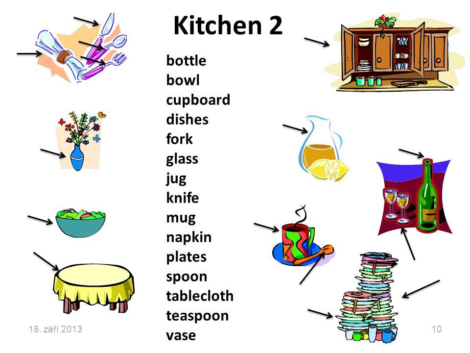 Kitchen 2 bottle bowl cupboard dishes fork glass jug knife mug napkin plates spoon tablecloth teaspoon vase 18.