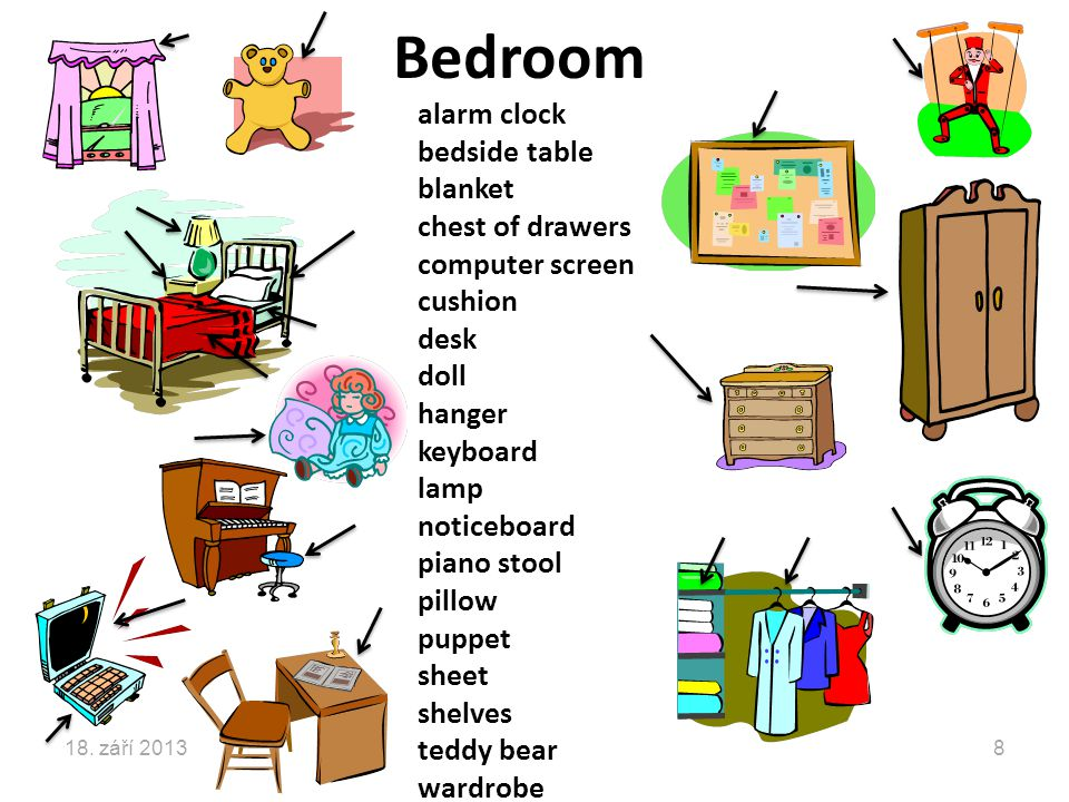 Bedroom alarm clock bedside table blanket chest of drawers computer screen cushion desk doll hanger keyboard lamp noticeboard piano stool pillow puppet sheet shelves teddy bear wardrobe 18.