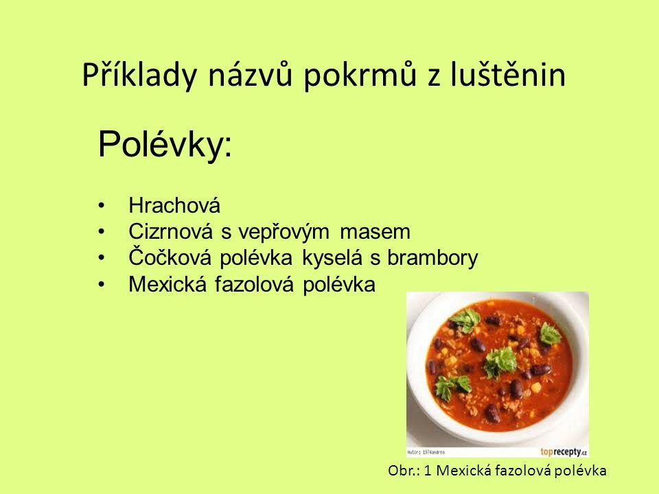Příklady názvů pokrmů z luštěnin Polévky: Hrachová Cizrnová s vepřovým masem Čočková polévka kyselá s brambory Mexická fazolová polévka Obr.: 1 Mexick