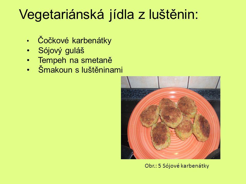 Vegetariánská jídla z luštěnin: Čočkové karbenátky Sójový guláš Tempeh na smetaně Šmakoun s luštěninami Obr.: 5 Sójové karbenátky