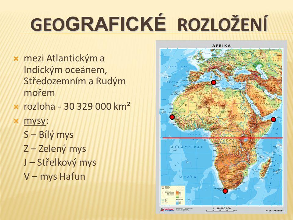  mezi Atlantickým a Indickým oceánem, Středozemním a Rudým mořem  rozloha - 30 329 000 km²  mysy: S – Bílý mys Z – Zelený mys J – Střelkový mys V – mys Hafun GEO GRAFICKÉ ROZLOŽENÍ