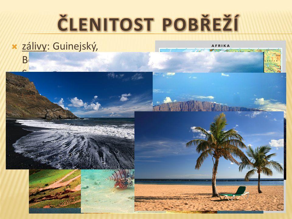  zálivy: Guinejský, Beninský, Adenský, Velká Syrta a Malá Syrta  průliv: Gibraltarský, Mosambický  průplav: Suezský  ostrovy: Madagaskar (586 tis.km), Maskarény, Kanárské, Kapverdy