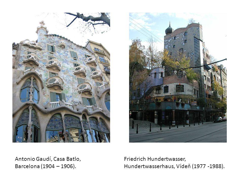 Antonio Gaudí, Casa Batlo, Barcelona (1904 – 1906). Friedrich Hundertwasser, Hundertwasserhaus, Vídeň (1977 -1988).