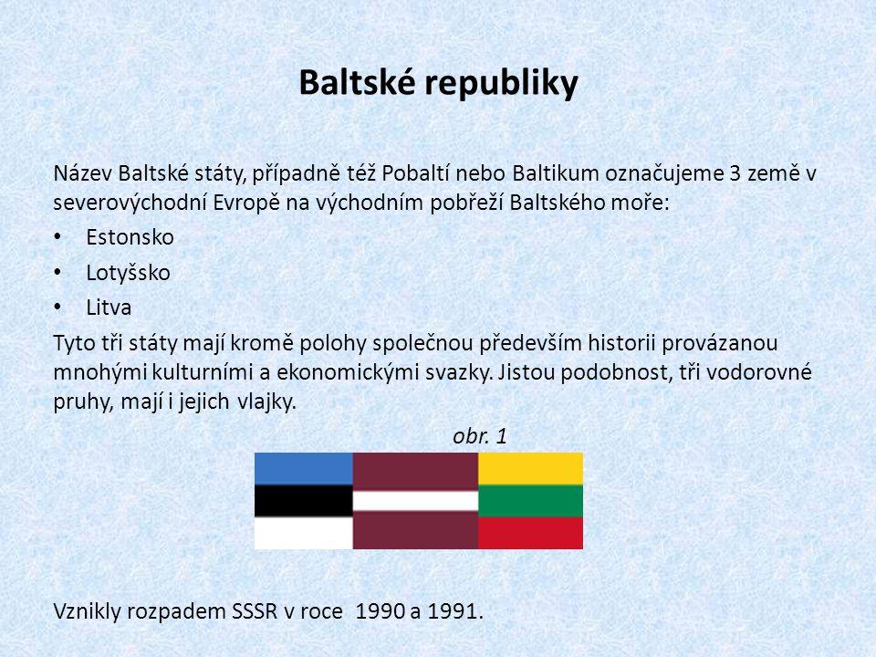 Baltské republiky Název Baltské státy, případně též Pobaltí nebo Baltikum označujeme 3 země v severovýchodní Evropě na východním pobřeží Baltského moř