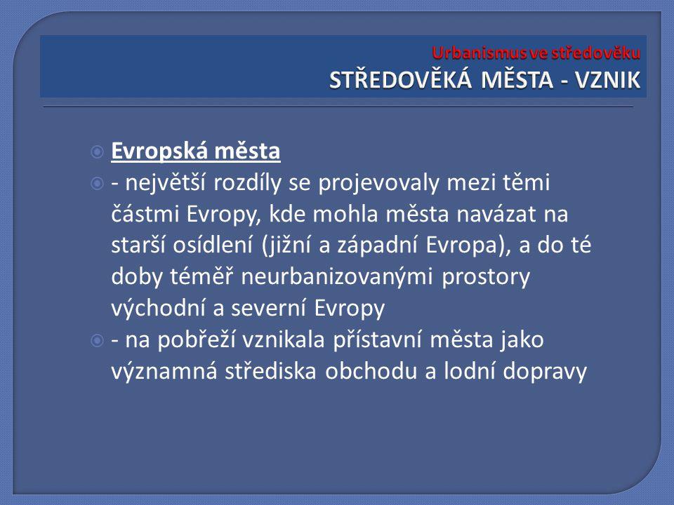  Evropská města  - největší rozdíly se projevovaly mezi těmi částmi Evropy, kde mohla města navázat na starší osídlení (jižní a západní Evropa), a d