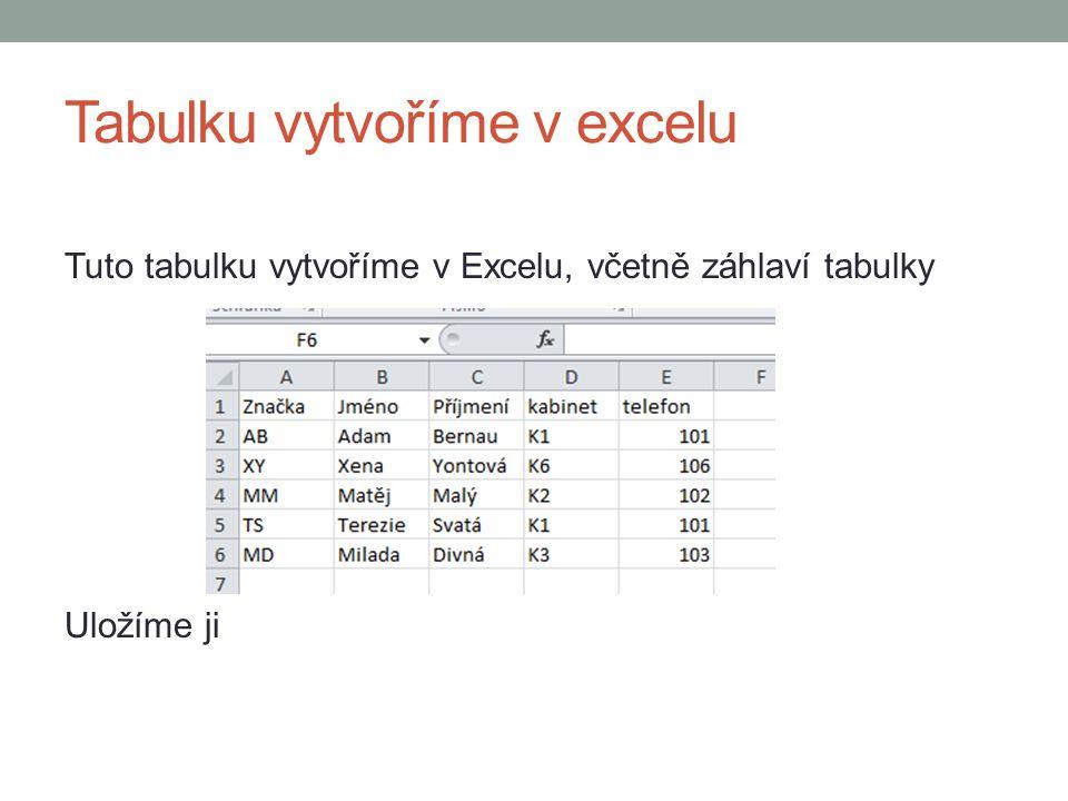 Tabulku vytvoříme v excelu Tuto tabulku vytvoříme v Excelu, včetně záhlaví tabulky Uložíme ji