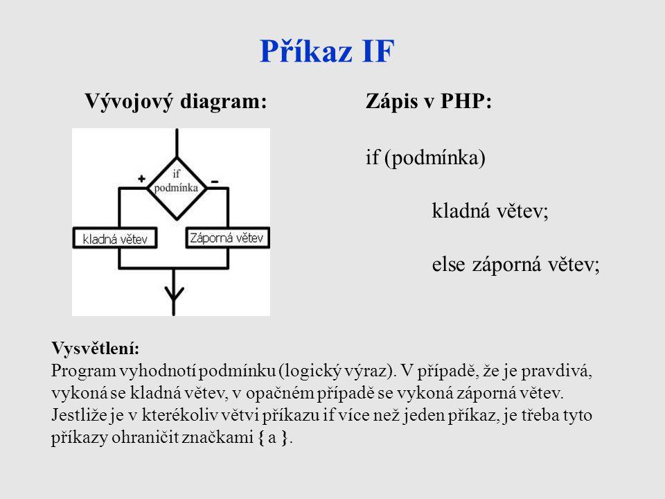 Příkaz IF Vývojový diagram:Zápis v PHP: if (podmínka) kladná větev; else záporná větev; Vysvětlení: Program vyhodnotí podmínku (logický výraz). V příp