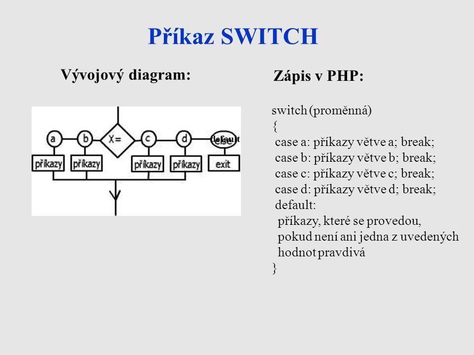 Příkaz SWITCH Vývojový diagram: Zápis v PHP: switch (proměnná) { case a: příkazy větve a; break; case b: příkazy větve b; break; case c: příkazy větve