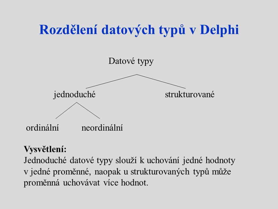 Rozdělení datových typů v Delphi Datové typy jednoduchéstrukturované ordinálníneordinální Vysvětlení: Jednoduché datové typy slouží k uchování jedné hodnoty v jedné proměnné, naopak u strukturovaných typů může proměnná uchovávat více hodnot.