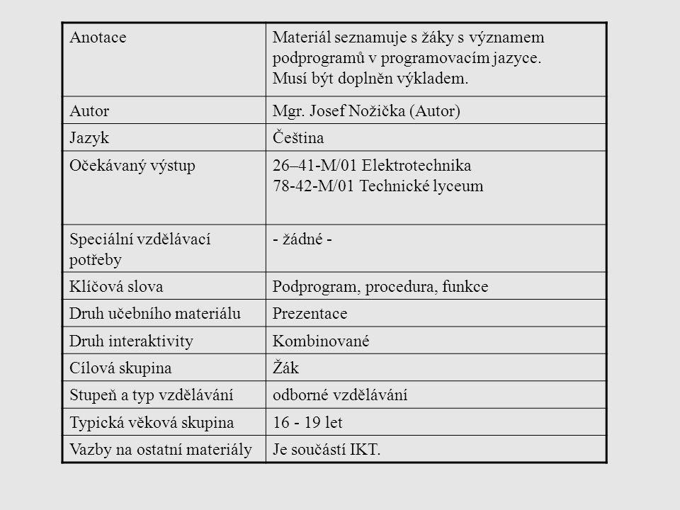 AnotaceMateriál seznamuje s žáky s významem podprogramů v programovacím jazyce.