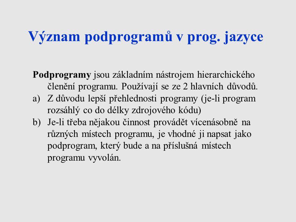 Význam podprogramů v prog.