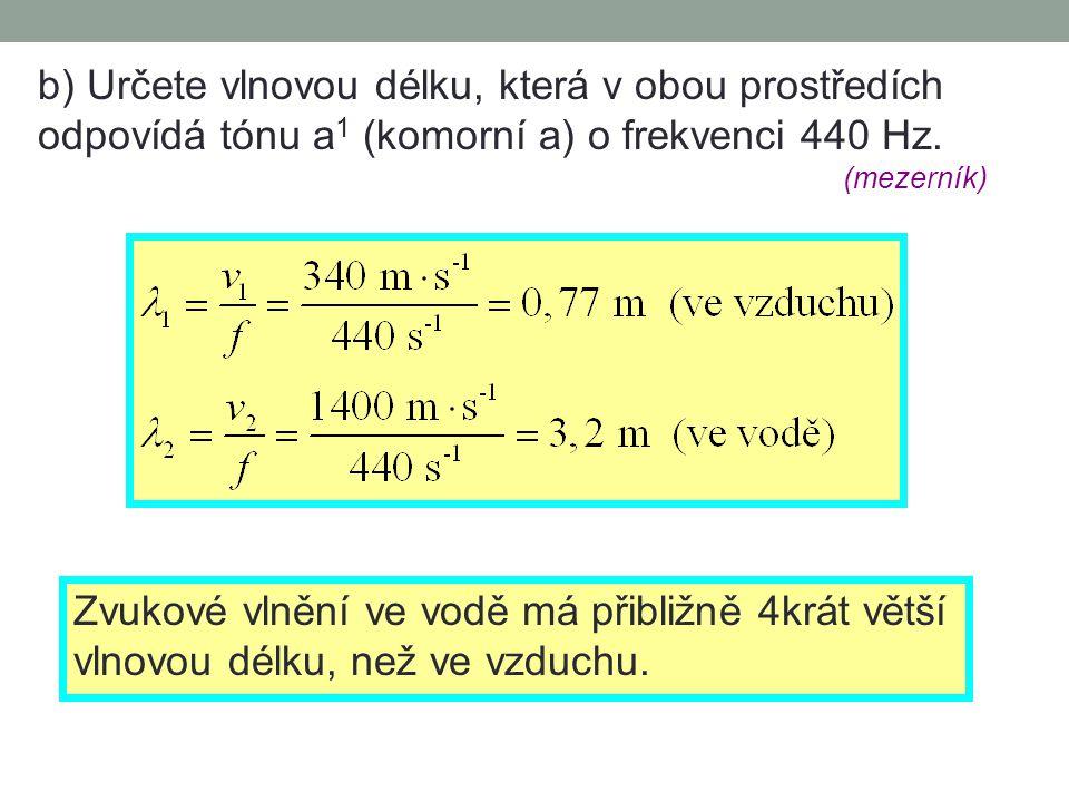 b) Určete vlnovou délku, která v obou prostředích odpovídá tónu a 1 (komorní a) o frekvenci 440 Hz.