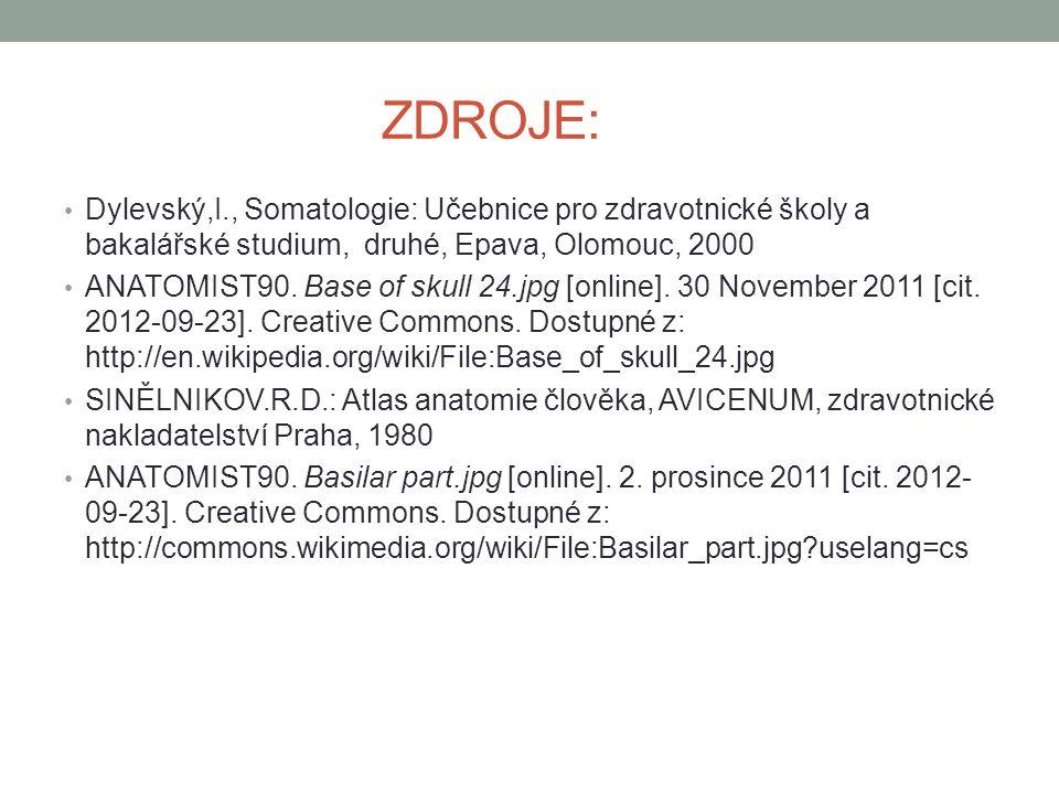 ZDROJE: Dylevský,I., Somatologie: Učebnice pro zdravotnické školy a bakalářské studium, druhé, Epava, Olomouc, 2000 ANATOMIST90. Base of skull 24.jpg