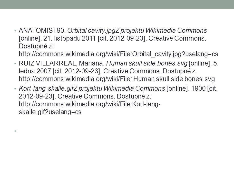 ANATOMIST90. Orbital cavity.jpgZ projektu Wikimedia Commons [online]. 21. listopadu 2011 [cit. 2012-09-23]. Creative Commons. Dostupné z: http://commo