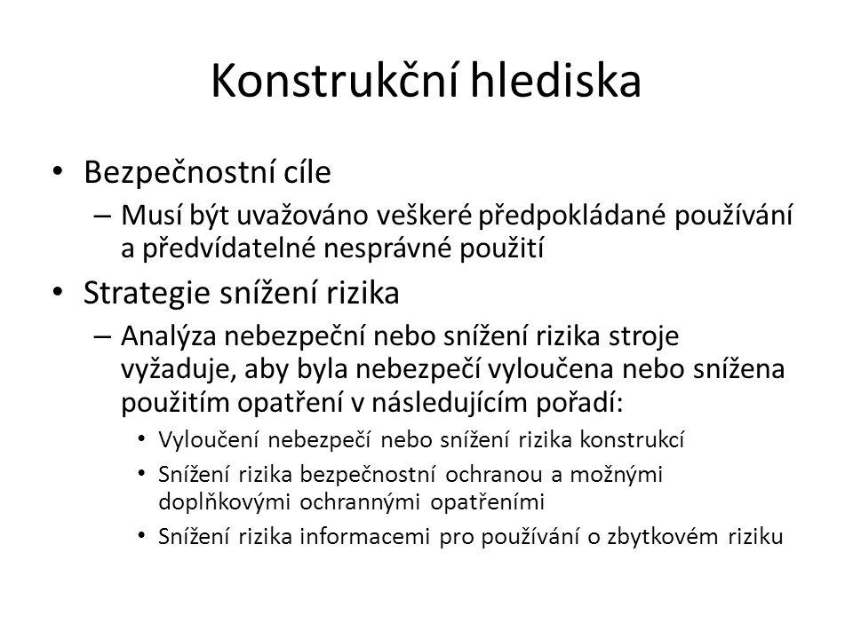 Konstrukční hlediska Bezpečnostní cíle – Musí být uvažováno veškeré předpokládané používání a předvídatelné nesprávné použití Strategie snížení rizika
