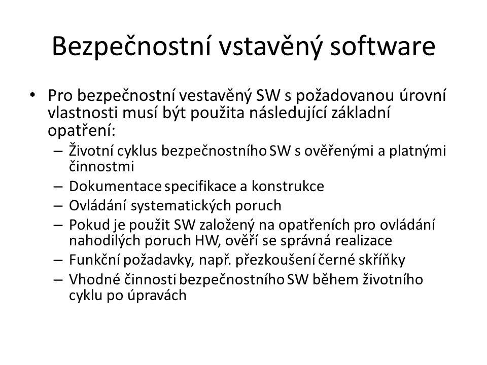 Bezpečnostní vstavěný software Pro bezpečnostní vestavěný SW s požadovanou úrovní vlastnosti musí být použita následující základní opatření: – Životní